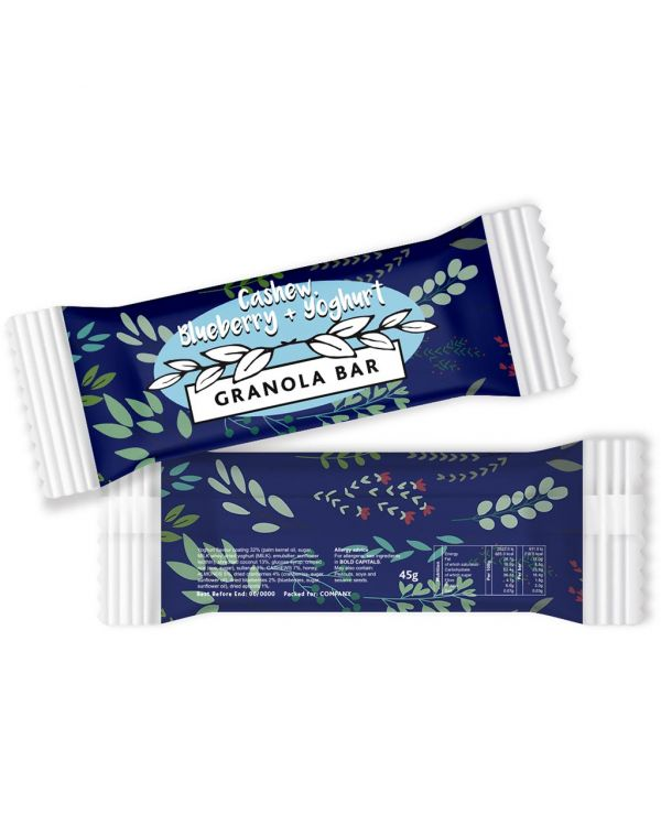 Paper Flow Bag - Cashew, Blueberry & Yoghurt - Granola Bar