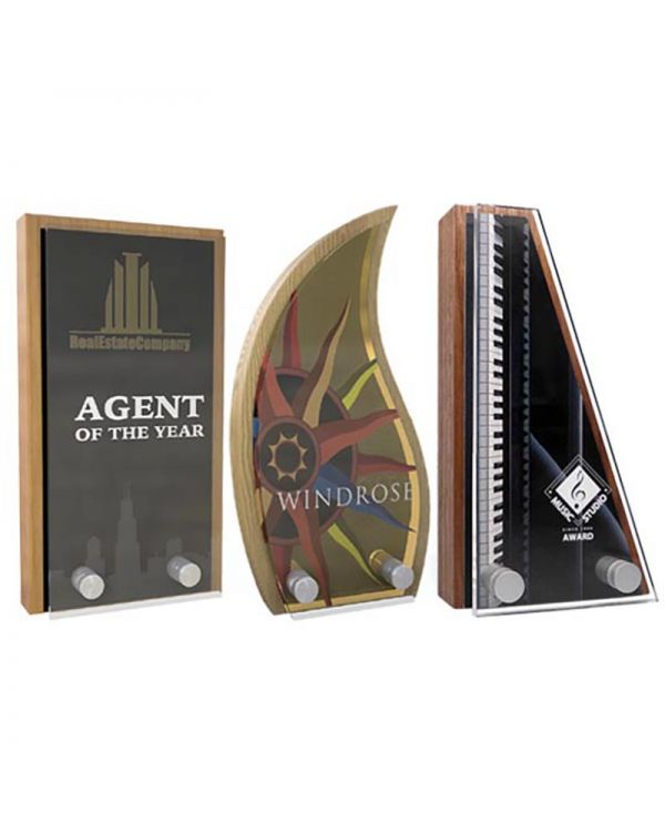 Real Wood Block Award With Metal Face Plate & Acrylic Front - 80mm x 150mm