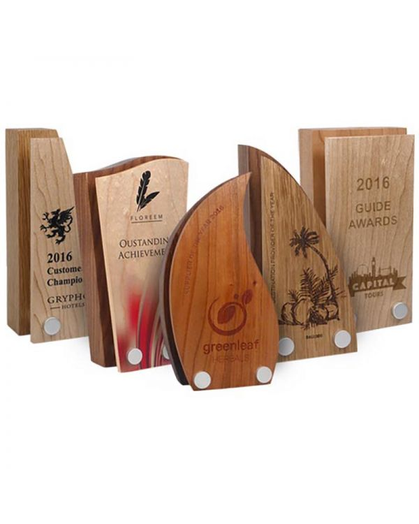 Real Wood Block Award With Wood Face Plate - 80mm x 150mm