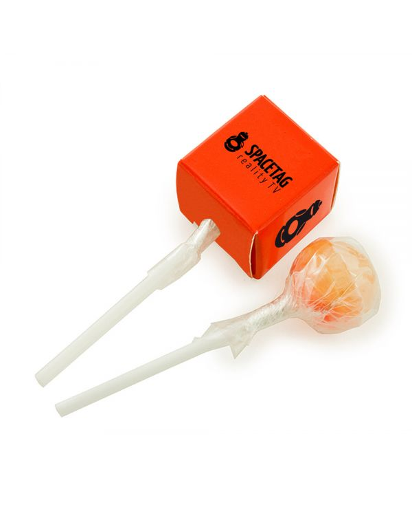 Ball Lollipop In A Printed Card Cube