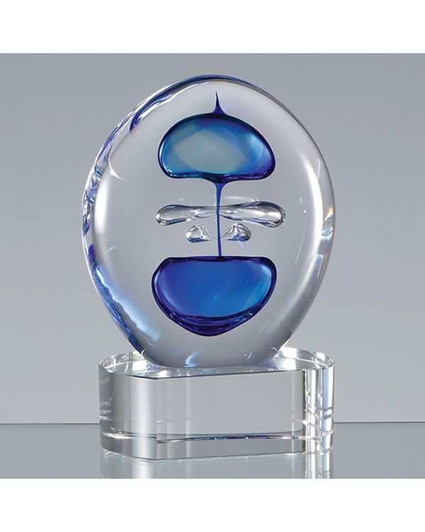 12cm Handmade Blue and Teal Round CrystalArt Award