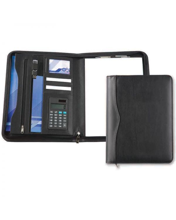 Oakham A4 Deluxe Zipped Folder with Calculator