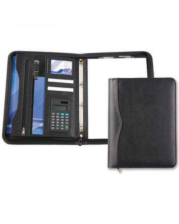 Oakham A4 Deluxe Zipped Ring Binder with Calculator