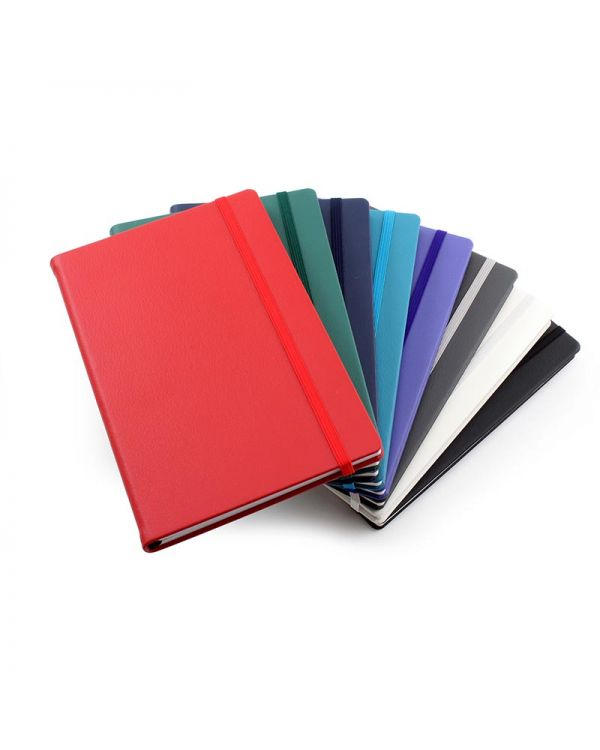 Recycled Eleather A5 Casebound Notebook With Elastic Strap