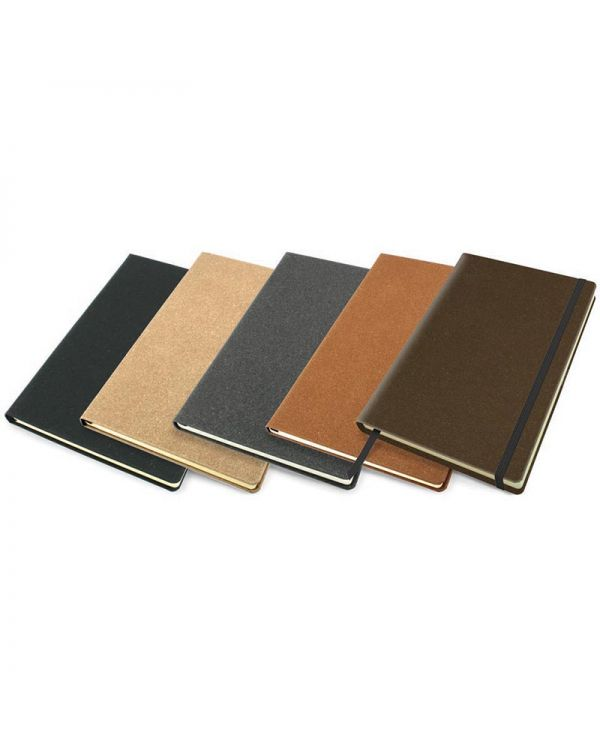 Palma Natural Recycled Leather A5 Casebound Notebook With Elastic Strap