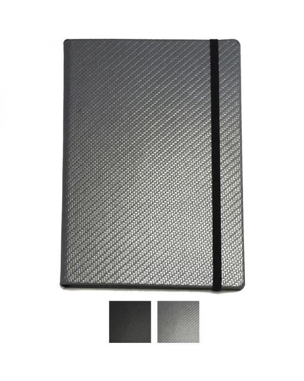 Carbon Fibre Textured Effect A5 Casebound Notebook Deluxe