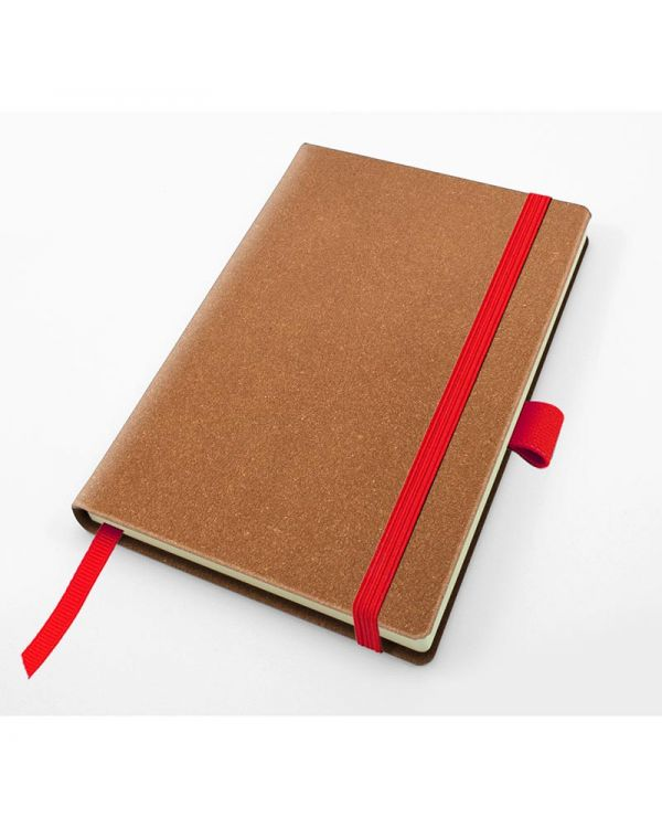 Palma Natural Recycled Leather Pocket Casebound Notebook With Elastic Strap & Pen Loop