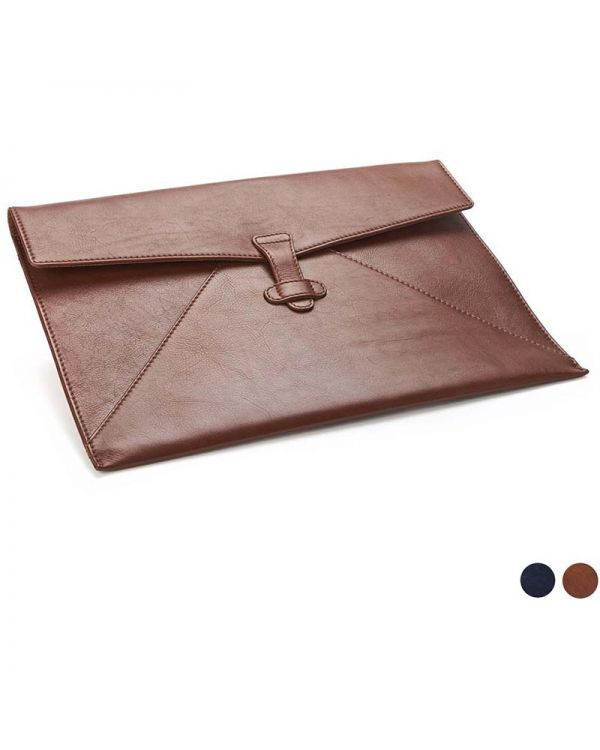 Accent Sandringham Leather Under Arm Folio / Laptop Case With Strap To Close