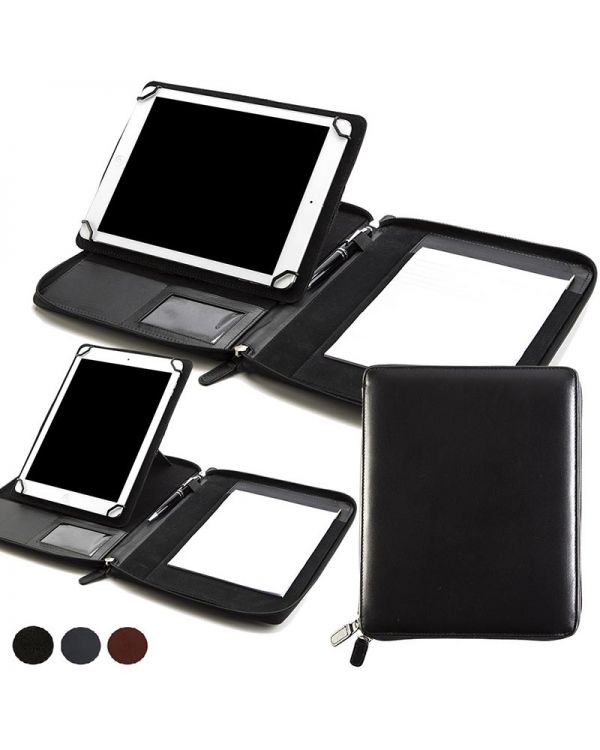 Sandringham Nappa Leather A5 Zipped Adjustable Tablet Holder With A Multi Position Tablet Stand