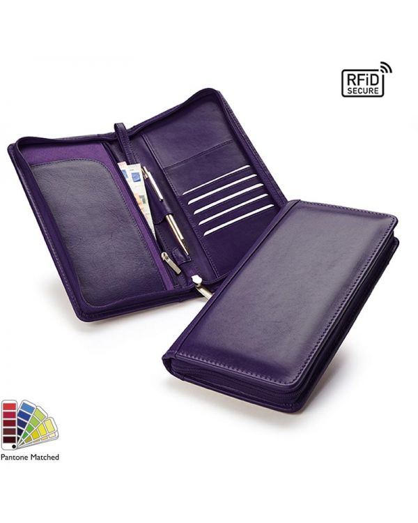Sandringham Nappa Leather Zipped Travel Wallet With RFID Protection