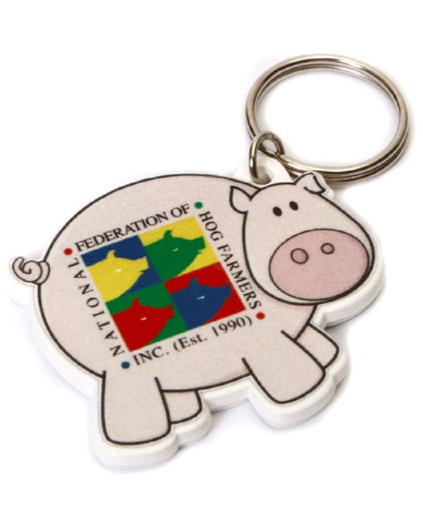 Recycled Pig Shape Keyring