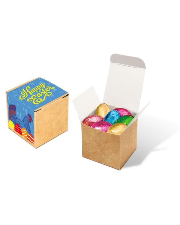 Easter - Eco Kraft Cube - Foiled Chocolate Eggs