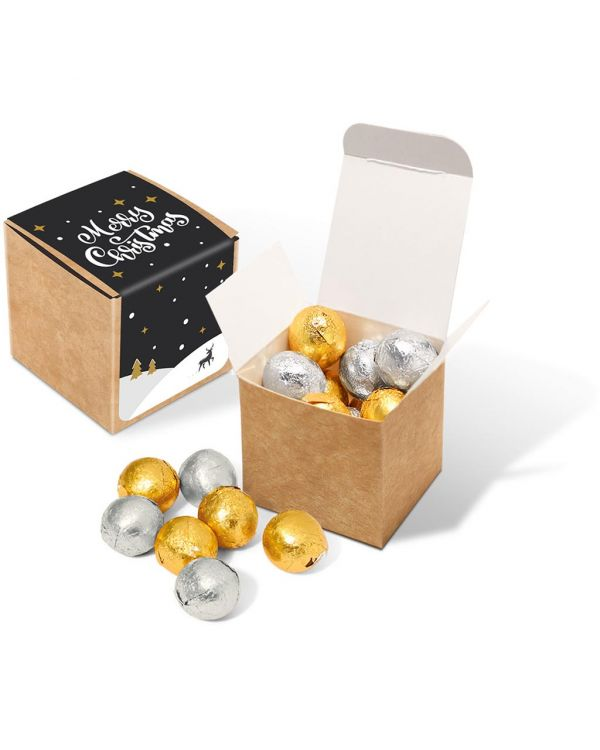 Winter Collection 2020 - Eco Kraft Cube - Foiled Chocolate Balls