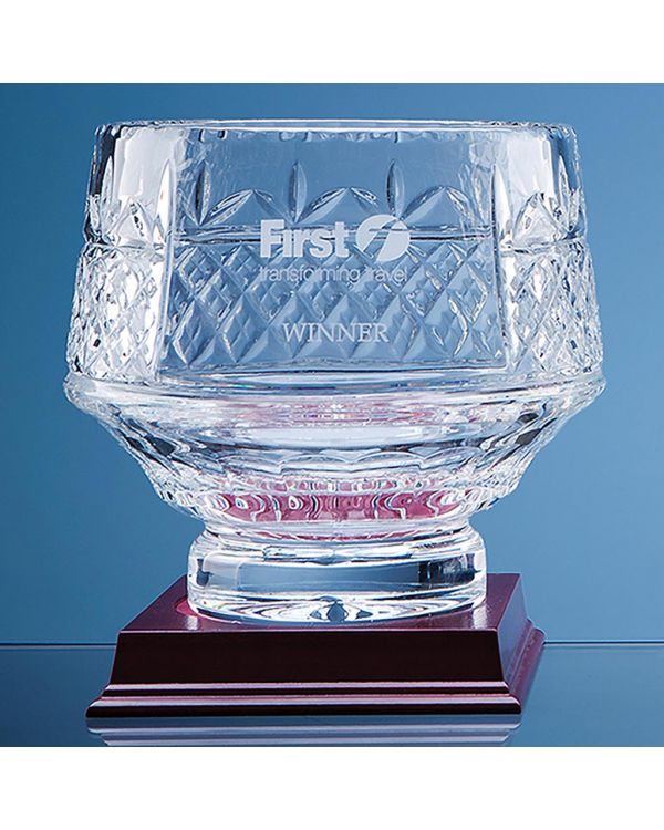 18cm Lead Crystal Panelled Heeled Bowl