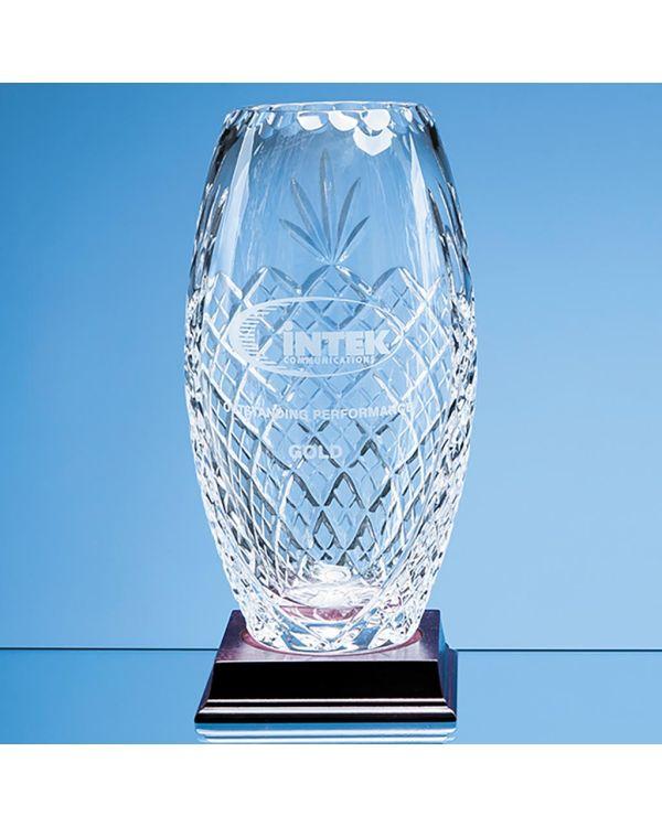25cm Lead Crystal Panelled Oval Vase