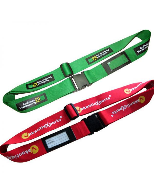 Printed Luggage Strap with Integral Address Tag