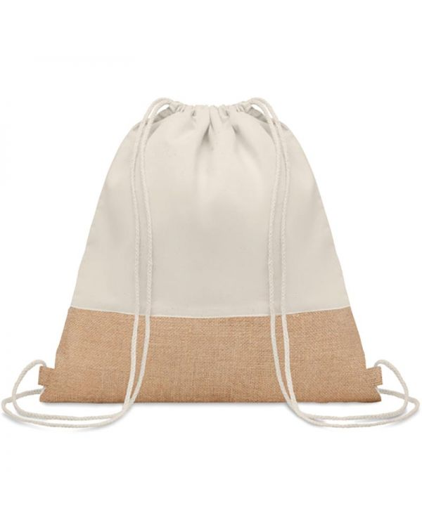 India Drawstring Bag With Jute Details