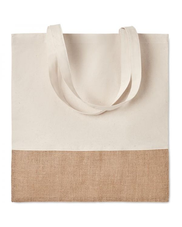India Tote Shopping Bag With Jute Details