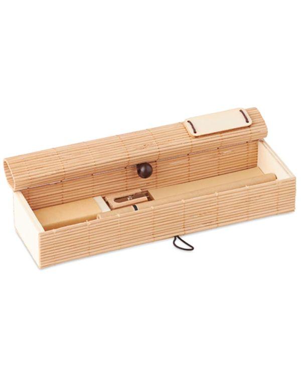 Cortina Etui Bamboo Stationary Set