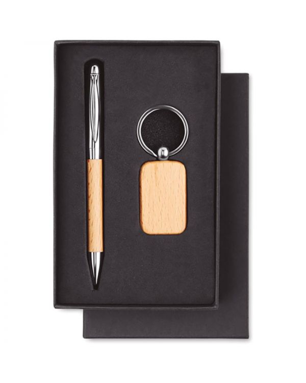 Pen & Ring Wooden Set Keyring And Ball Pen
