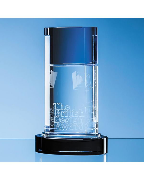 24cm Nik Meller Design Clear Optical Crystal and Cobalt Blue Seeq Oval Column Award