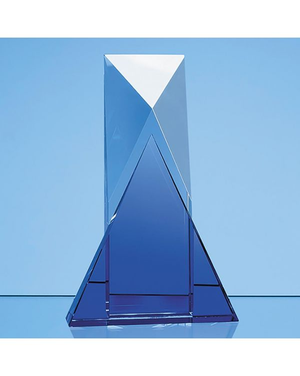 23cm Nik Meller Design Clear Optical Crystal and Cobalt Blue Mixx Award