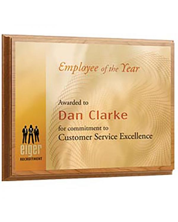 """Oblong Metal Faced Plaque - Logo Only - 6"""" x 8"""""""