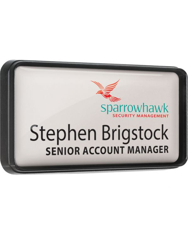 Plastic framed name badges with clear dome finish