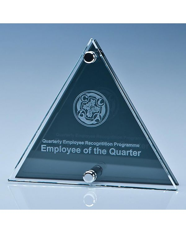 15cm x 17.5cm x 6mm Clear and Smoked Glass Triangle Plaque