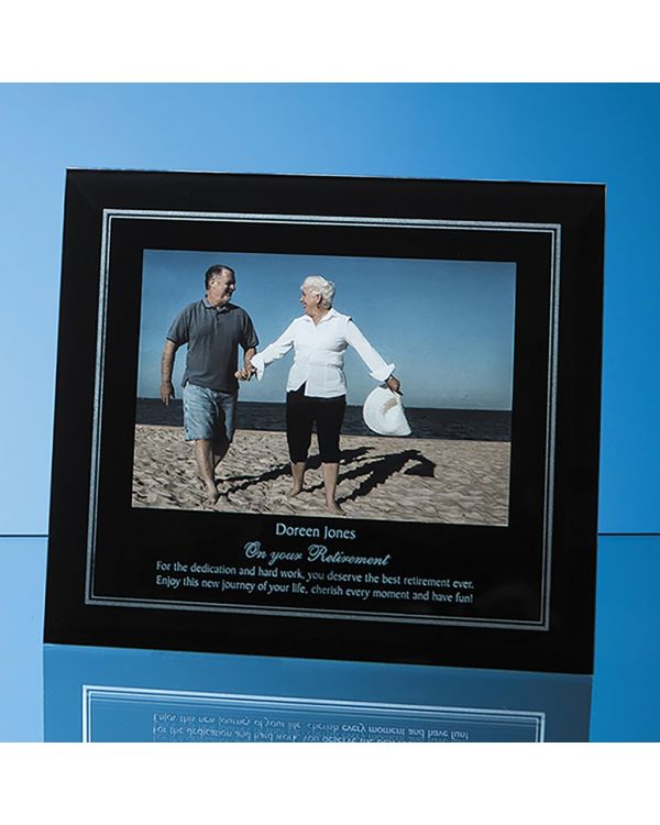 """Black Surround with Silver Inlay Glass Frame for 7"""" x 5"""" Landscape Photo"""
