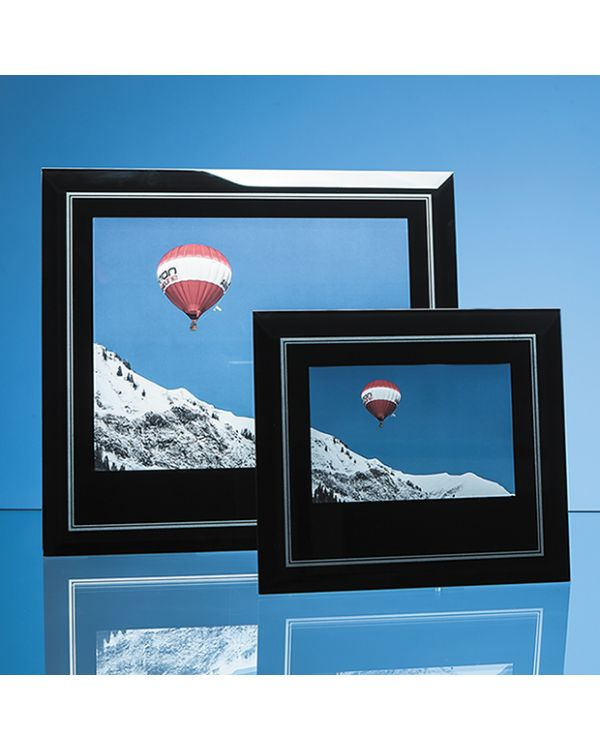 "Black Surround with Silver Inlay Glass Frame for 10"" x 8"" Landscape Photo"