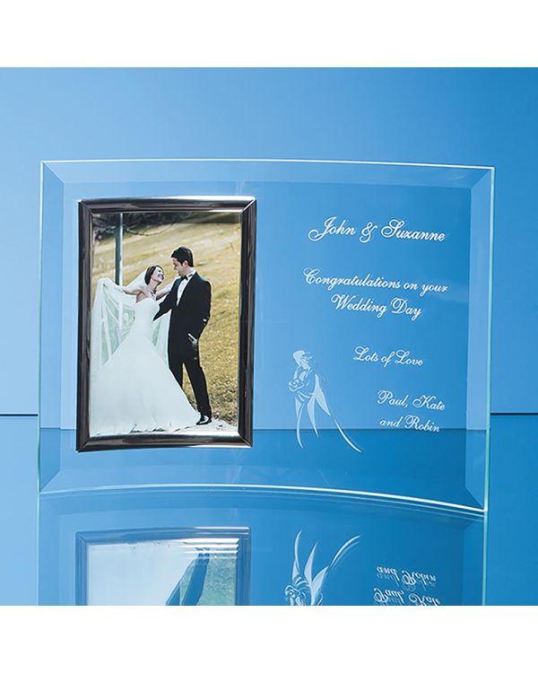 "Bevelled Glass Crescent Frame for 5"" x 7"" Portrait Photo"