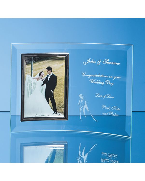 "Bevelled Glass Crescent Frame for 5"" x 7"" Portrait Photo"