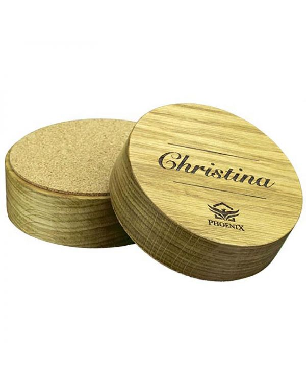 Real Wood Paperweight With Full Colour Print And Cork Base