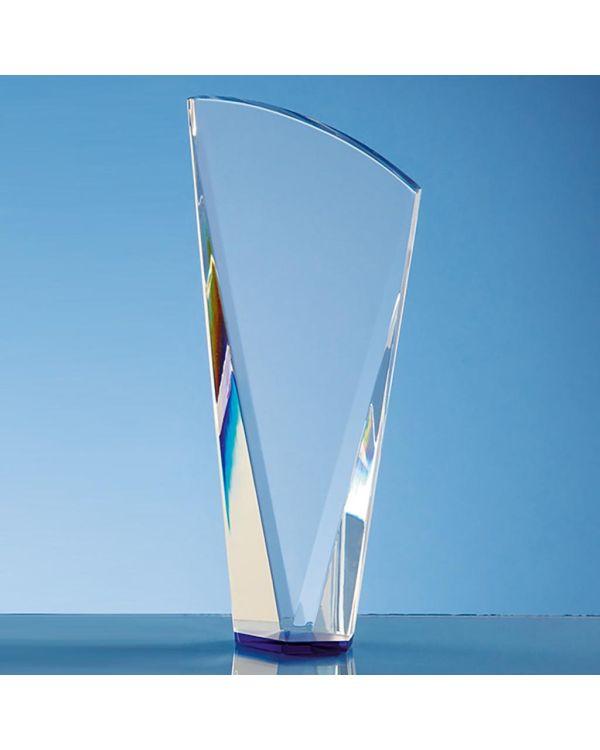21cm Clear Optical Crystal Facet Shard Award with a Sapphire Blue Base