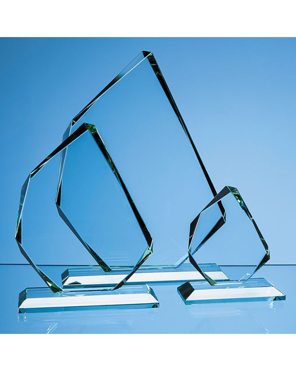 28cm x 20.5cm x 15mm Jade Glass Facetted Ice Peak Award