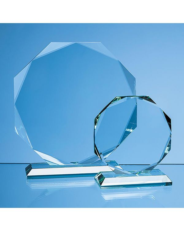 19cm x 19cm x 15mm Jade Glass Facetted Octagon Award