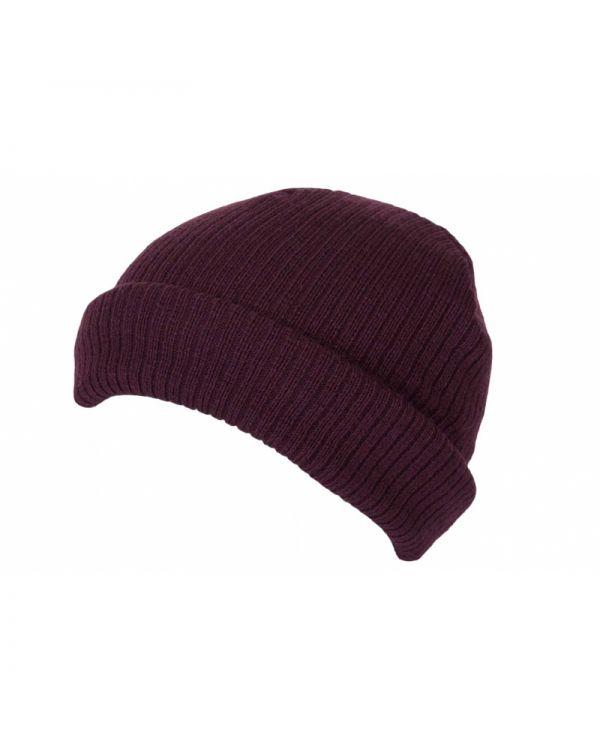 Short Ribbed Beanie With Turn Up