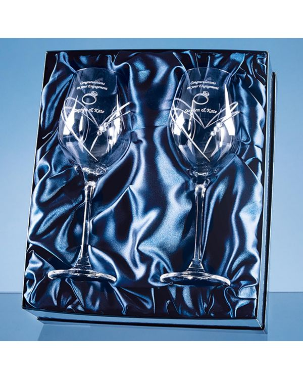 2 Diamante Wine Glasses with Heart Shaped Cutting in a Satin Lined Gift Box