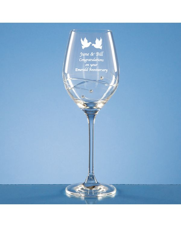 Single Diamante Wine Glass with Spiral Design Cutting