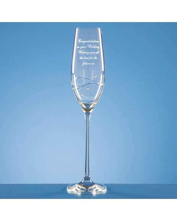 Single Diamante Champagne Flute with Spiral Design Cutting