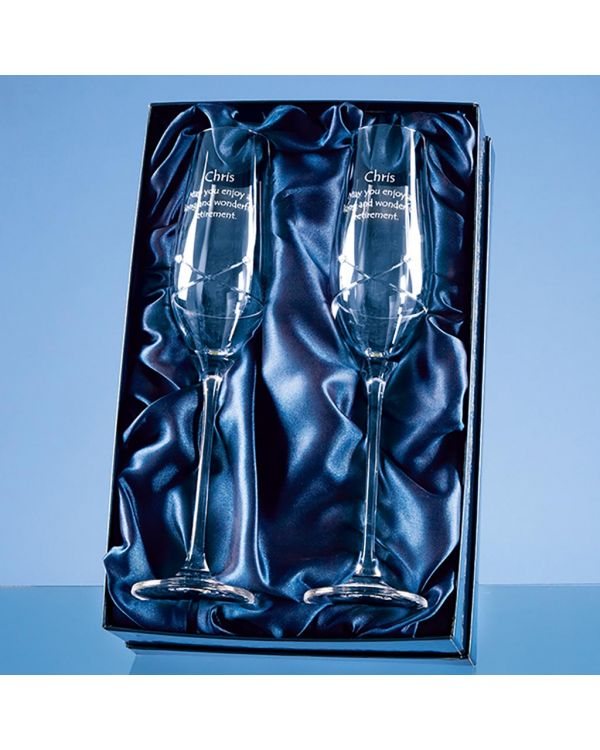 2 Diamante Champagne Flutes with a Kiss Cut Design in a Satin Lined Gift Box