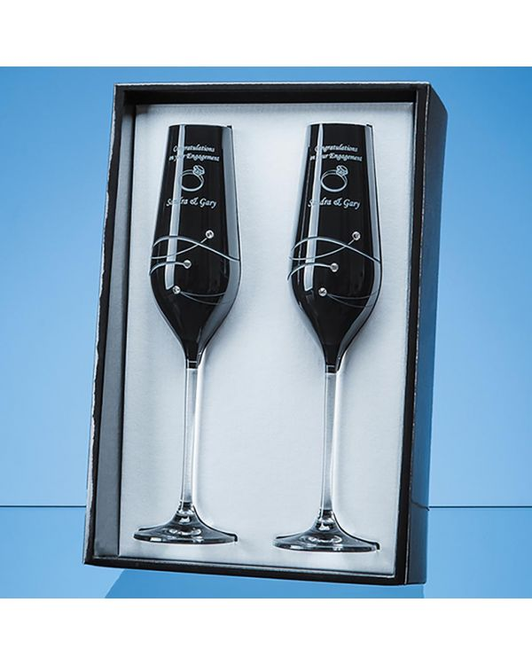2 Onyx Black Diamante Champagne Flutes with Spiral Design Cutting in an attractive Gift Box