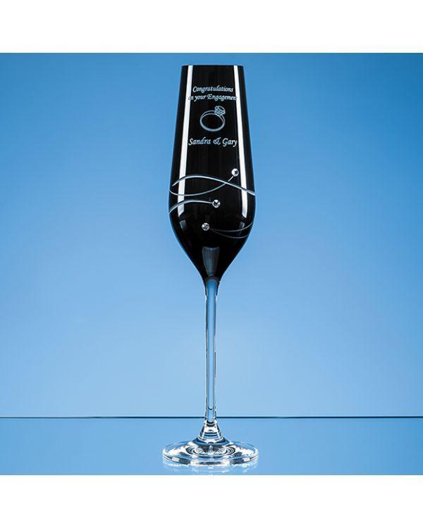 Single Onyx Black Diamante Champagne Flute with Spiral Design Cutting