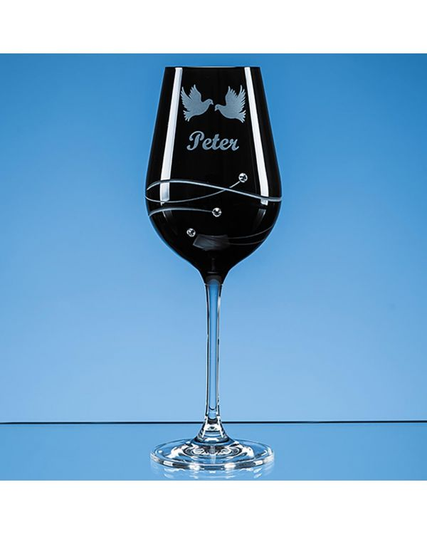 Single Onyx Black Diamante Wine Glass with Spiral Design Cutting