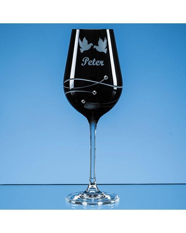 Single Onyx Black Diamante Wine Glass with Spiral Design Cutting