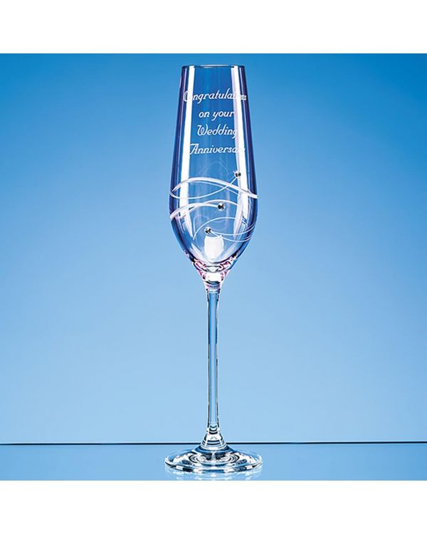 Single Pink Diamante Champagne Flute with Spiral Design Cutting