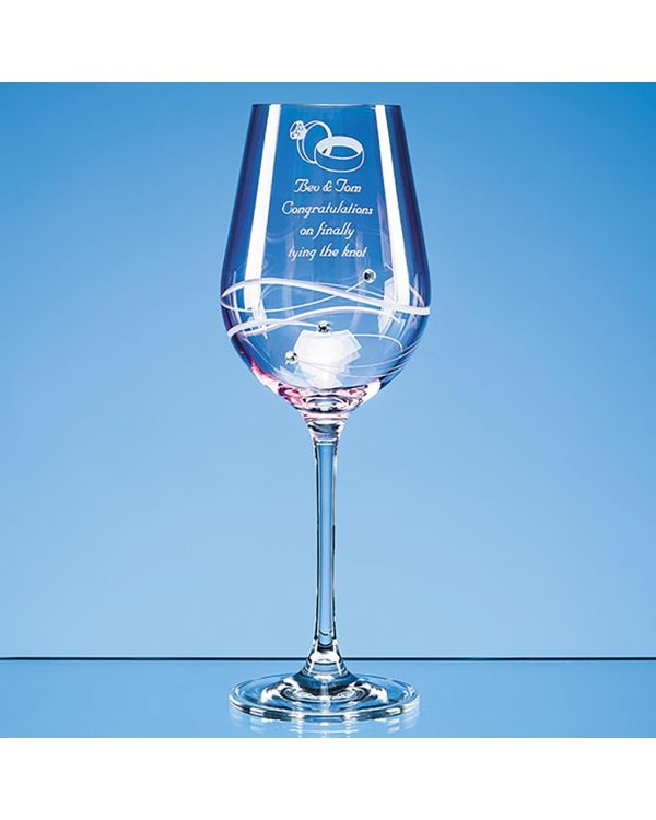 Single Pink Diamante Wine Glass with Spiral Design Cutting