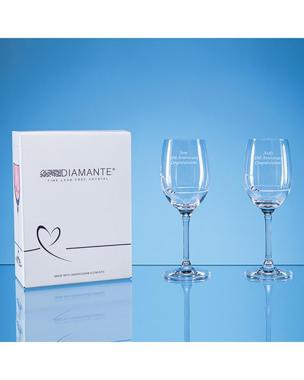 2 Diamante Petit Wine Glasses with Heart Design in an attractive Gift Box