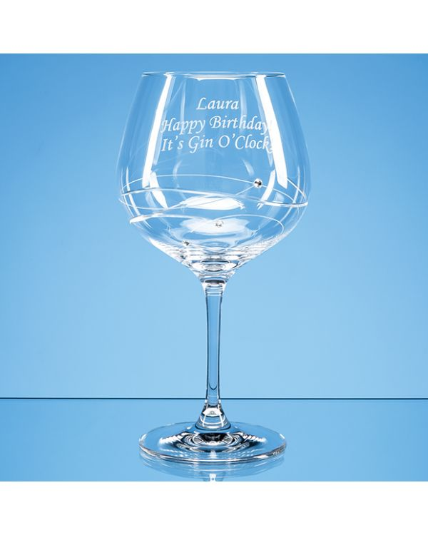 Single Diamante Gin Glass with Spiral Design Cutting